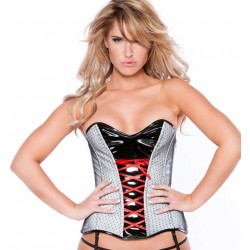 Clarissa Black and Gray Vinyl Corset Corsets Plus Corsets - Steel Boned Corsets, Waist Training, Body Shapers