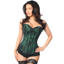 Lavish Green Lace Overlay Overbust Corset Corsets Plus Corsets - Steel Boned Corsets, Waist Training, Body Shapers