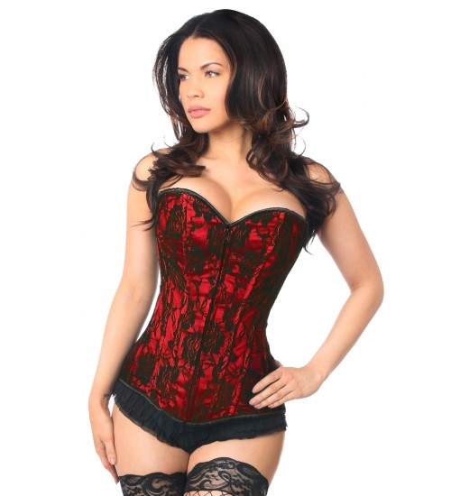 Lavish Red Lace Overlay Overbust Corset at Corsets Plus, Corsets - Steel Boned Corsets, Waist Training, Body Shapers