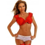 Tie Front Red Peasant Crop Top at Corsets Plus, Corsets - Steel Boned Corsets, Waist Training, Body Shapers