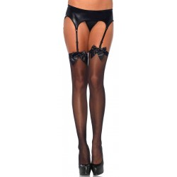 Satin Bow Sheer Thigh High Garter Stockings Corsets Plus Corsets - Steel Boned Corsets, Waist Training, Body Shapers