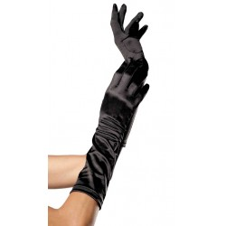 Black Satin Elbow Length Gloves Corsets Plus Corsets - Steel Boned Corsets, Waist Training, Body Shapers