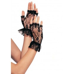 Ruffled Lace Wrist Length Fingerless Gloves Corsets Plus Corsets - Steel Boned Corsets, Waist Training, Body Shapers