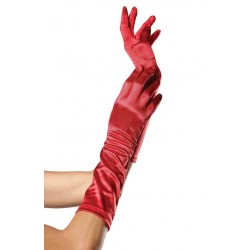 Red Satin Elbow Length Gloves Corsets Plus Corsets - Steel Boned Corsets, Waist Training, Body Shapers