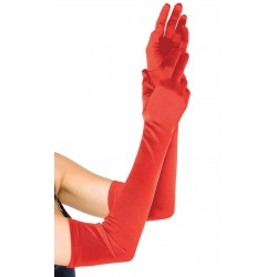 Red Satin Extra Long Opera Gloves Corsets Plus Corsets - Steel Boned Corsets, Waist Training, Body Shapers