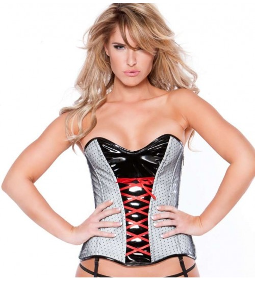 Clarissa Black and Gray Vinyl Corset at Corsets Plus, Corsets - Steel Boned Corsets, Waist Training, Body Shapers