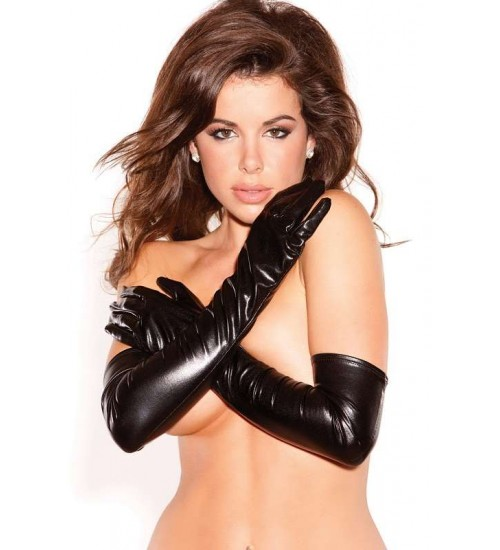 Wet Look Lycra Opera Gloves at Corsets Plus, Corsets - Steel Boned Corsets, Waist Training, Body Shapers