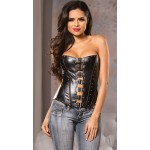 Buckled Front Faux Leather Corset at Corsets Plus, Corsets - Steel Boned Corsets, Waist Training, Body Shapers