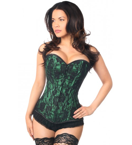 Lavish Green Lace Overlay Overbust Corset at Corsets Plus, Corsets - Steel Boned Corsets, Waist Training, Body Shapers