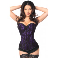 Lavish Purple Lace Overlay Overbust Corset Corsets Plus Corsets - Steel Boned Corsets, Waist Training, Body Shapers