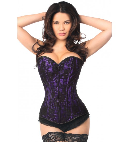 Lavish Purple Lace Overlay Overbust Corset at Corsets Plus, Corsets - Steel Boned Corsets, Waist Training, Body Shapers