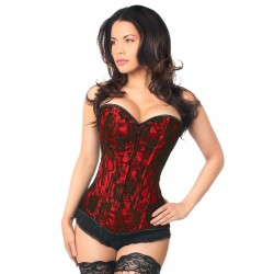 Lavish Red Lace Overlay Overbust Corset Corsets Plus Corsets - Steel Boned Corsets, Waist Training, Body Shapers