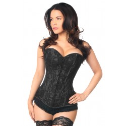 Lavish Black Lace Overlay Overbust Corset Corsets Plus Corsets - Steel Boned Corsets, Waist Training, Body Shapers
