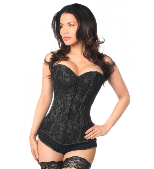 Lavish Black Lace Overlay Overbust Corset at Corsets Plus, Corsets - Steel Boned Corsets, Waist Training, Body Shapers