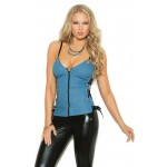 Denim Blue Zip Front Bustier Top at Corsets Plus, Corsets - Steel Boned Corsets, Waist Training, Body Shapers