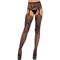 Floral Lace Suspender Garter Belt Stockings