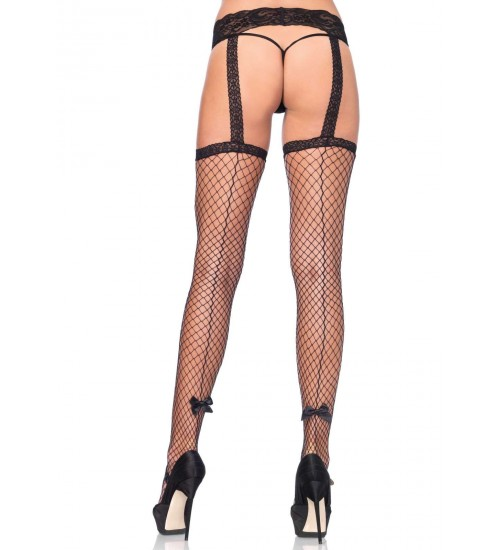 Backseam Industrial Net Suspender Stockings  - Pack of 3