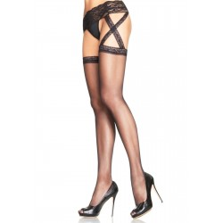 Criss Cross Sheer Black Suspender Stockings  - Pack of 3 Corsets Plus Corsets - Steel Boned Corsets, Waist Training, Body Shapers