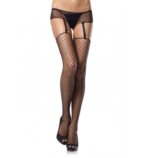 Black Industrial Net Garter Belt and Stockings Set at Corsets Plus, Corsets - Steel Boned Corsets, Waist Training, Body Shapers