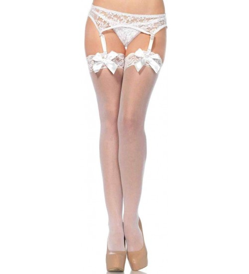 Satin Bow Lace Top Thigh High Garter Stockings at Corsets Plus, Corsets - Steel Boned Corsets, Waist Training, Body Shapers