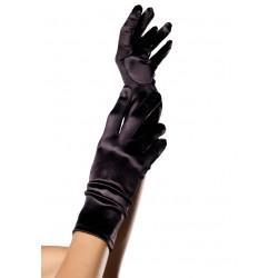 Black Wrist Length Satin Gloves Corsets Plus Corsets - Steel Boned Corsets, Waist Training, Body Shapers