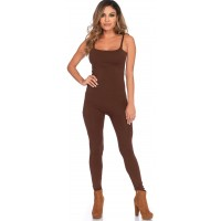 Basic Womens Unitard in Brown