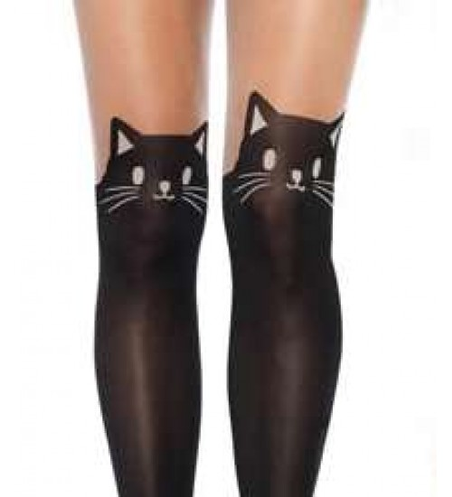 Adorable Black Kitty Cat Pantyhose 3 Pack
