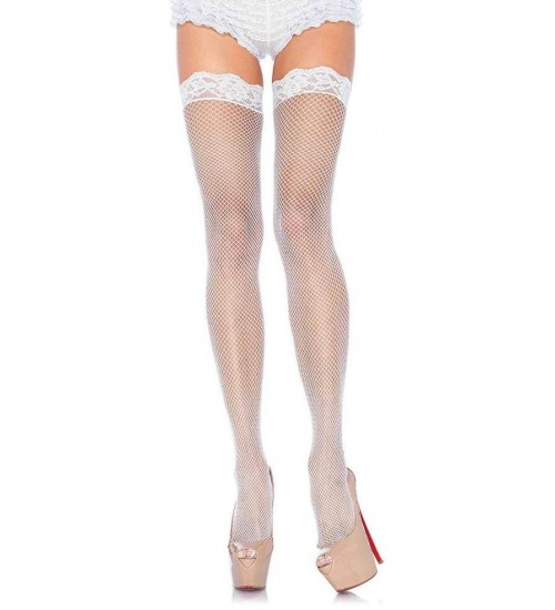 Fishnet Garter Stockings with Lace Top - White at Corsets Plus, Corsets - Steel Boned Corsets, Waist Training, Body Shapers