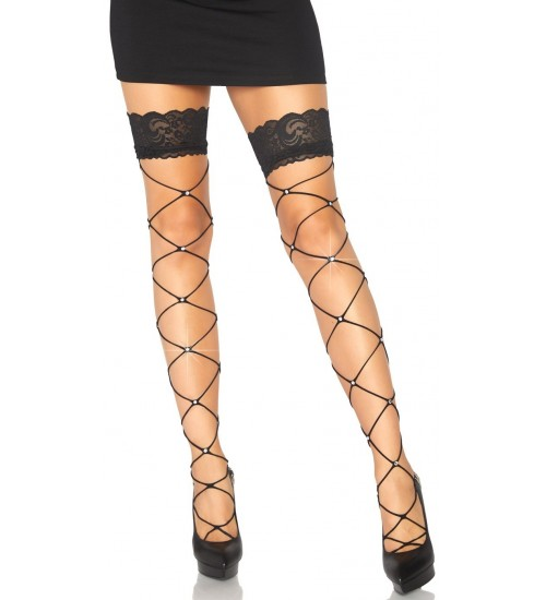 Crystalized Open Net Thigh Highs at Corsets Plus, Corsets - Steel Boned Corsets, Waist Training, Body Shapers
