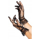 Black Ruffled Lace Wrist Length Gloves