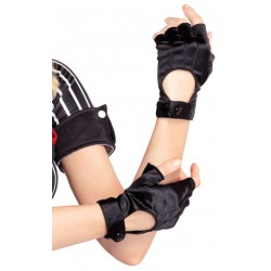 Fingerless Black Snap Satin Gloves Corsets Plus Corsets - Steel Boned Corsets, Waist Training, Body Shapers