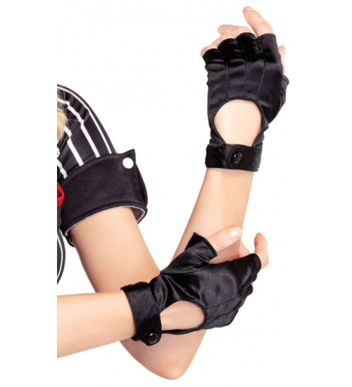 Fingerless Black Snap Satin Gloves at Corsets Plus, Corsets - Steel Boned Corsets, Waist Training, Body Shapers