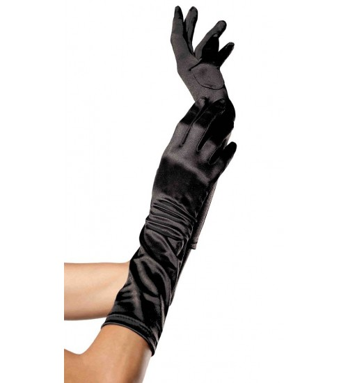 Black Satin Elbow Length Gloves at Corsets Plus, Corsets - Steel Boned Corsets, Waist Training, Body Shapers