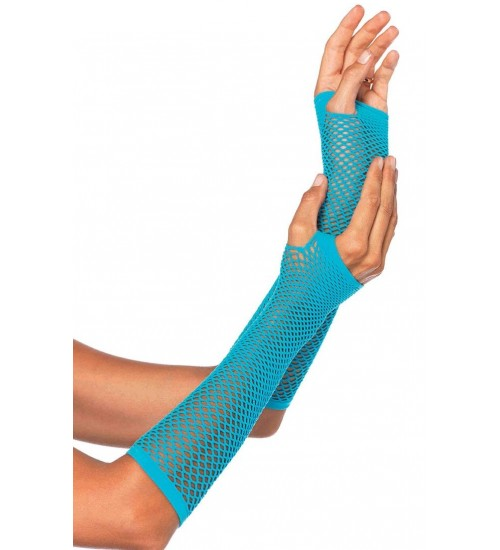 Neon Blue Triangle Net Fingerless Gloves at Corsets Plus, Corsets - Steel Boned Corsets, Waist Training, Body Shapers