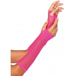 Neon Pink Triangle Net Fingerless Gloves Corsets Plus Corsets - Steel Boned Corsets, Waist Training, Body Shapers