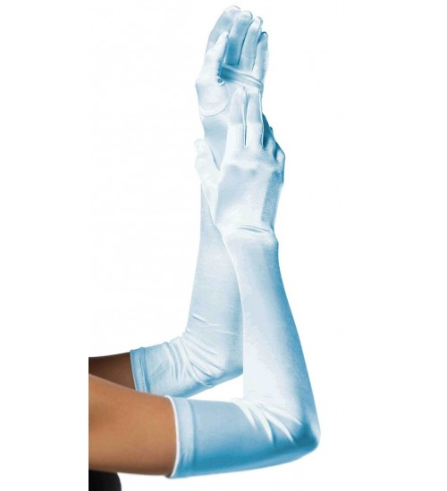 Light Blue Satin Extra Long Opera Gloves at Corsets Plus, Corsets - Steel Boned Corsets, Waist Training, Body Shapers