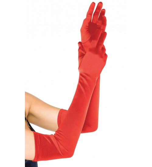 Red Satin Extra Long Opera Gloves at Corsets Plus, Corsets - Steel Boned Corsets, Waist Training, Body Shapers