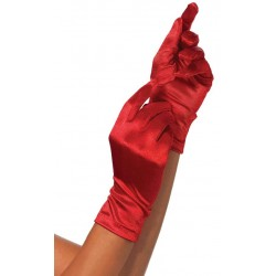 Red Wrist Length Satin Gloves Corsets Plus Corsets - Steel Boned Corsets, Waist Training, Body Shapers