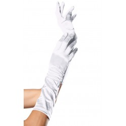White Satin Elbow Length Gloves Corsets Plus Corsets - Steel Boned Corsets, Waist Training, Body Shapers