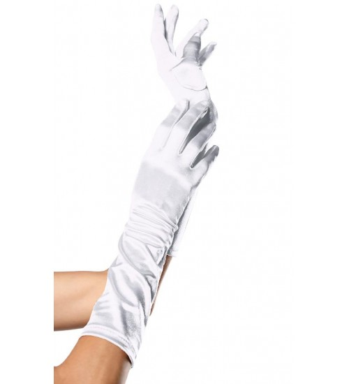 White Satin Elbow Length Gloves at Corsets Plus, Corsets - Steel Boned Corsets, Waist Training, Body Shapers