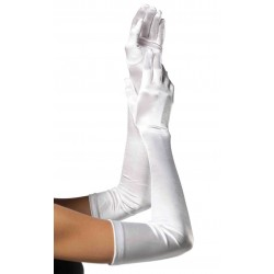 Satin Extra Long White Bridal Opera Gloves Corsets Plus Corsets - Steel Boned Corsets, Waist Training, Body Shapers