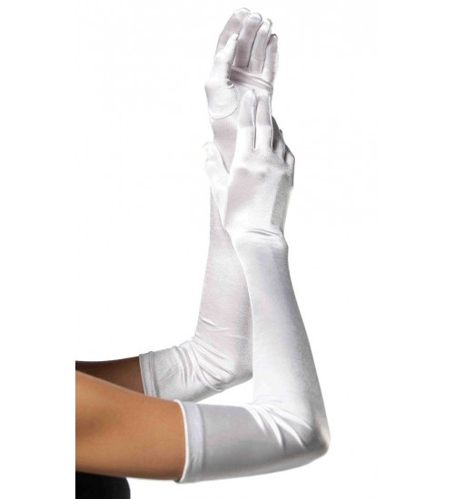 Satin Extra Long White Bridal Opera Gloves at Corsets Plus, Corsets - Steel Boned Corsets, Waist Training, Body Shapers