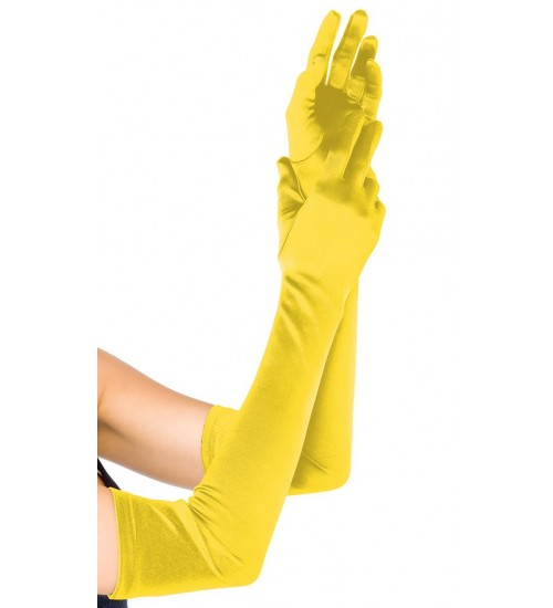Yellow Satin Extra Long Opera Gloves at Corsets Plus, Corsets - Steel Boned Corsets, Waist Training, Body Shapers