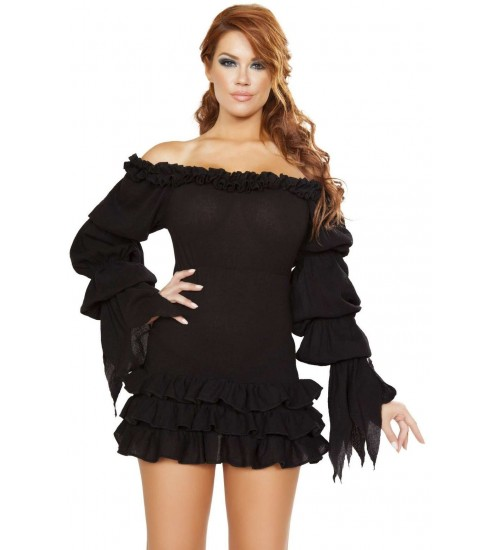 Ruffled Black Gothic Pirate Dress at Corsets Plus, Corsets - Steel Boned Corsets, Waist Training, Body Shapers